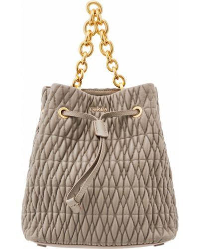 Кожаная сумка через плечо серая Furla