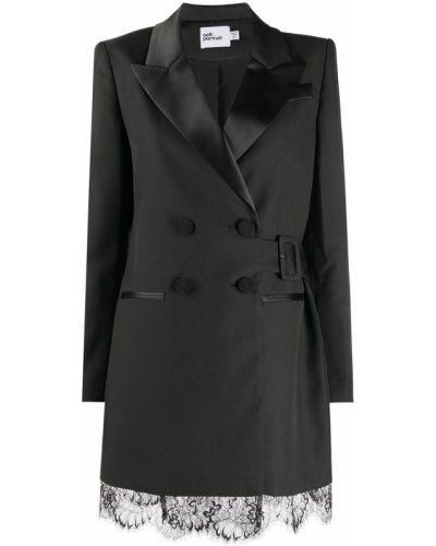 Черный приталенный классический пиджак двубортный Self-portrait