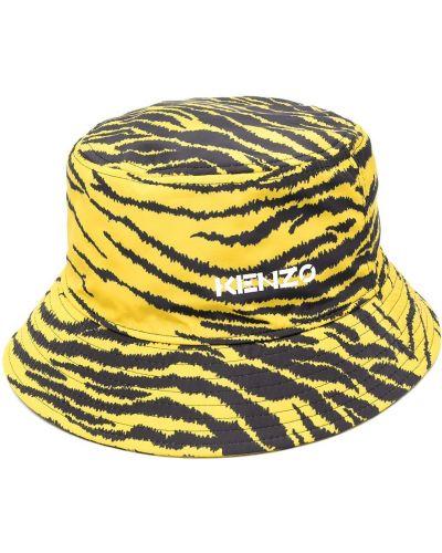 Żółty kapelusz bawełniany z printem Kenzo