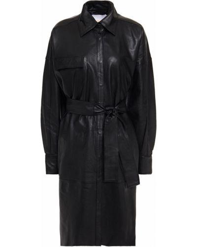 Czarna sukienka koszulowa z paskiem skórzana Remain Birger Christensen