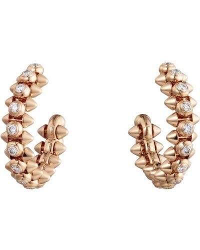 Серьги-кольца золотые с бриллиантом Cartier