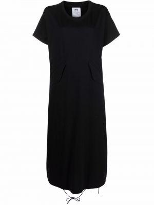 Черное платье мини с короткими рукавами с вырезом Y-3