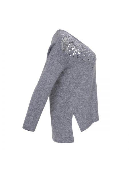 Серый акриловый пуловер с V-образным вырезом оверсайз Mat Fashion