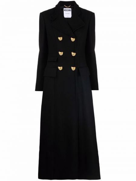 Черное длинное пальто Moschino