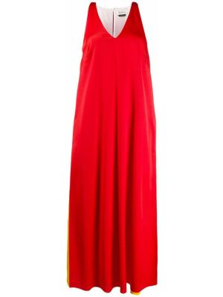 Красное платье с V-образным вырезом без рукавов на молнии Mulberry