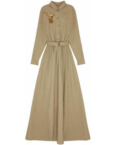 Льняное платье макси с пайетками A La Russe