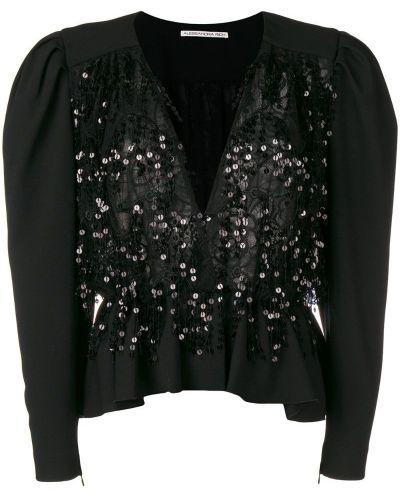 Расклешенный черный приталенный пиджак Alessandra Rich