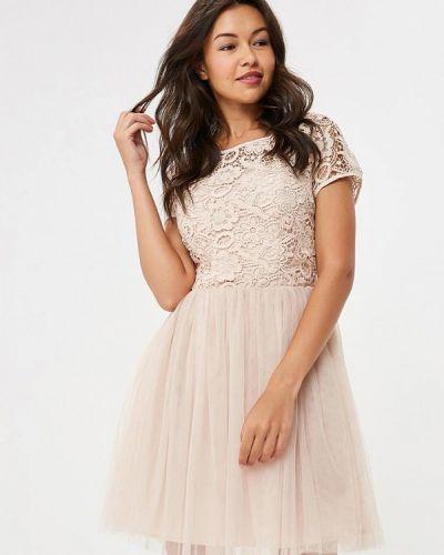 Коктейльное платье осеннее бежевое Yumi