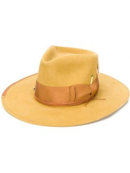 Золотистая желтая шляпа с широкими полями свободного кроя Nick Fouquet