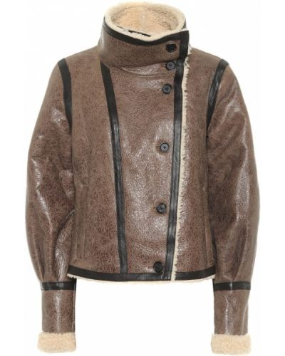 Коричневая кожаная куртка Veronica Beard