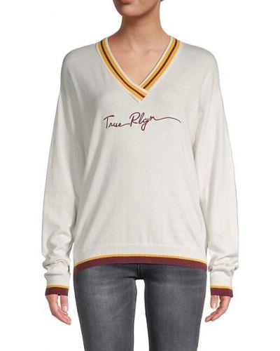 Черный длинный свитер в полоску с V-образным вырезом True Religion