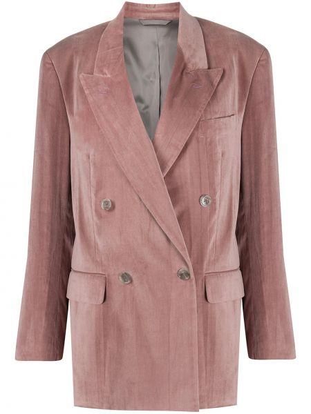 Бархатный розовый пиджак двубортный Acne Studios
