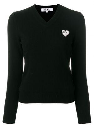Czarny sweter z dekoltem w szpic z długimi rękawami z mankietami Comme Des Garcons Play