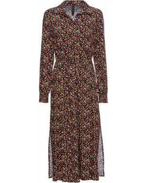Платье миди с цветочным принтом с длинными рукавами Bonprix