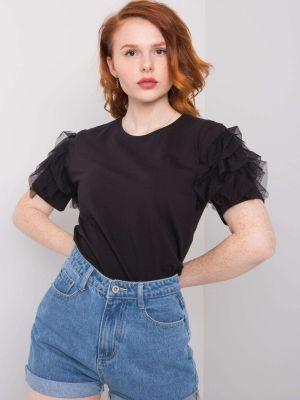 Czarny t-shirt bawełniany z falbanami Fashionhunters