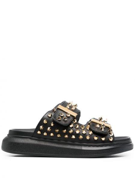 Czarne złote sandały z klamrą Alexander Mcqueen