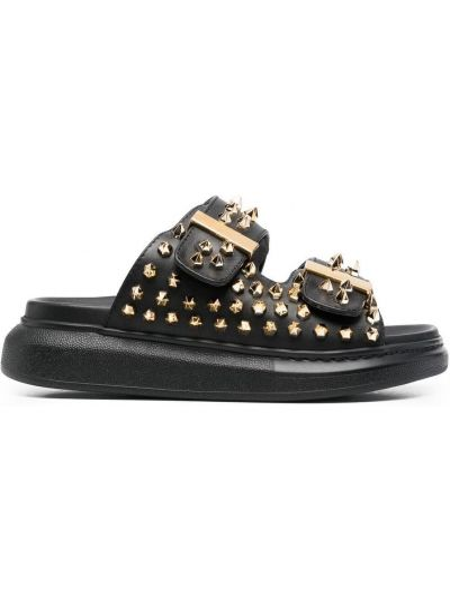 Złote sandały skórzane - czarne Alexander Mcqueen