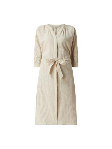 Beżowa sukienka koszulowa rozkloszowana w paski Fransa