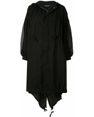 Черное пальто с капюшоном Undercover