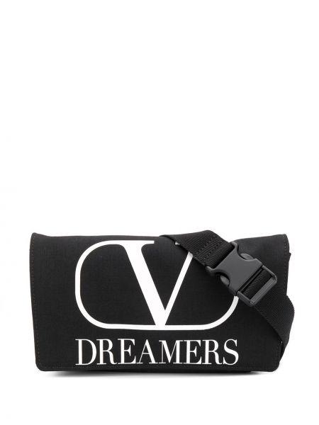 Czarny pasek z paskiem z printem Valentino