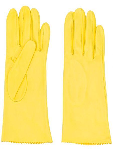 Skórzany rękawiczki z ozdobnym wykończeniem żółty Manokhi