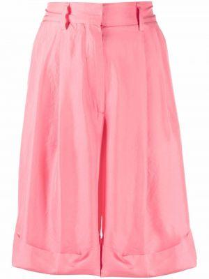 Шелковые розовые шорты с карманами Alberto Biani