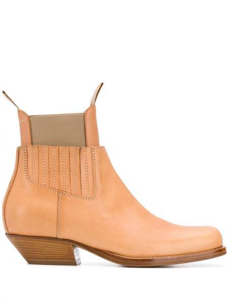 Кожаные коричневые ботинки на каблуке на каблуке эластичные Mm6 Maison Margiela