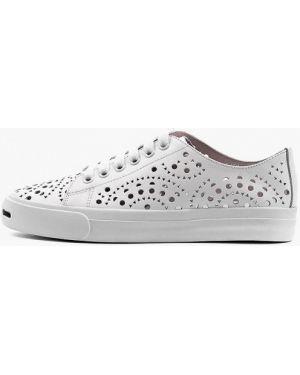 Кожаные белые кроссовки Leberdes