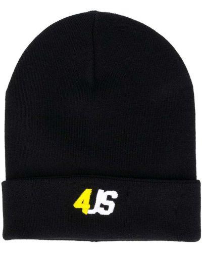 Хлопковая черная шапка с вышивкой эластичная Cesare Paciotti 4us Kids