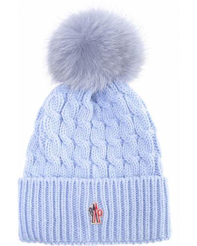 Вязаная шапка с отворотом из лисы Moncler