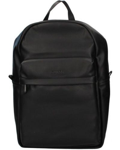 Czarny plecak na laptopa w paski Guess