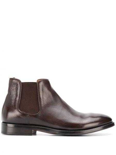 Кожаные черные кожаные ботинки круглые на плоской подошве Alberto Fasciani