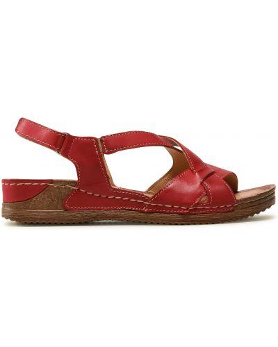 Босоножки на каблуке - красные Waldi