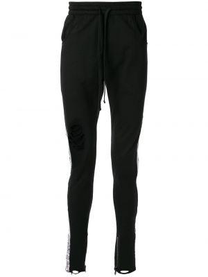 Czarne spodnie bawełniane z printem Alchemist