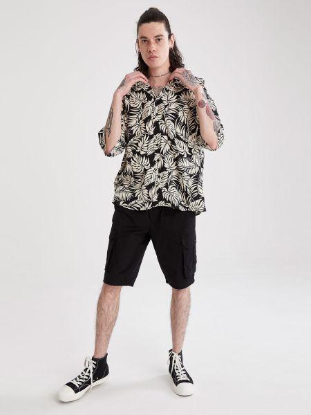 Рубашка с короткими рукавами с воротником-стойка на пуговицах Defacto