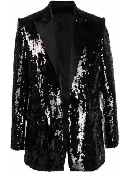 Черный удлиненный пиджак с пайетками с воротником на пуговицах Balmain