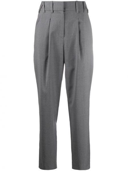 Серые прямые брюки с поясом с высокой посадкой Iro