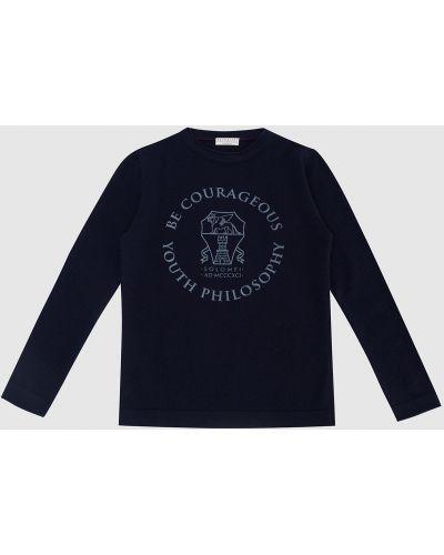 Синий кашемировый джемпер Brunello Cucinelli