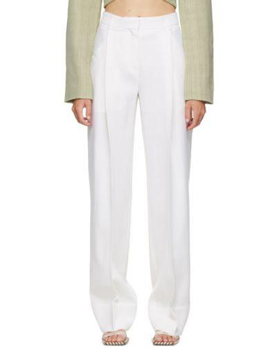 Bezpłatne cięcie biały szerokie spodnie bezpłatne cięcie z paskiem Jacquemus