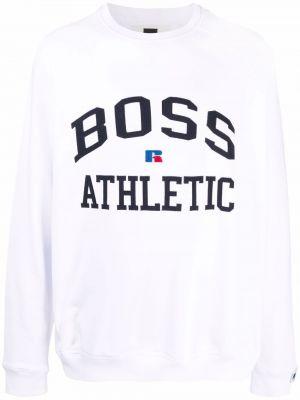 Biała bluza z nadrukiem z printem Boss Hugo Boss
