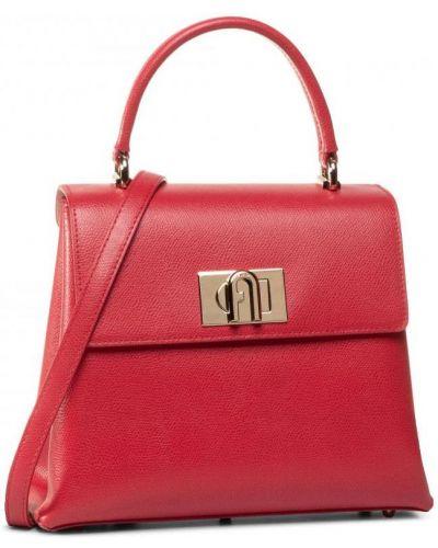 Красная сумка через плечо из натуральной кожи Furla