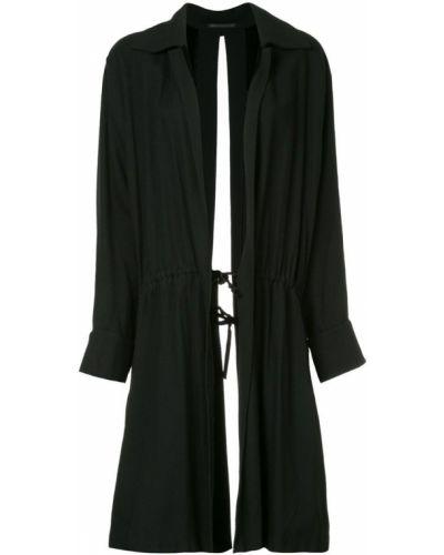Черное пальто с капюшоном Yohji Yamamoto Pre-owned