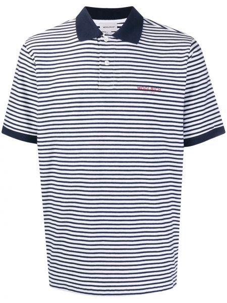 Koszula krótkie z krótkim rękawem w paski z logo Woolrich