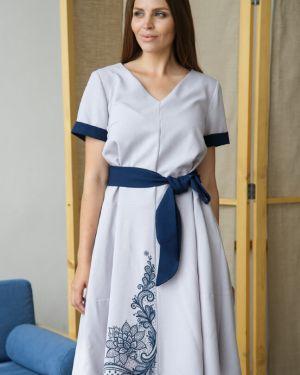 Платье с поясом платье-сарафан с рукавами Ellcora