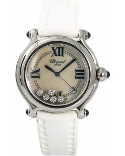 Спортивные кожаные белые часы на кожаном ремешке c сапфиром Chopard