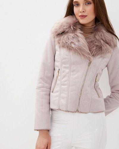 Кожаная куртка осенняя розовая Love Republic