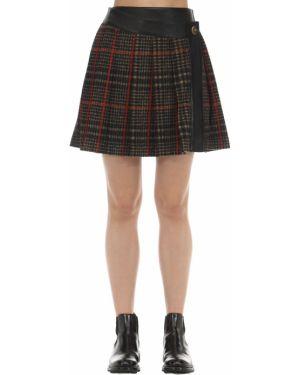 Плиссированная юбка с запахом шотландка Coach
