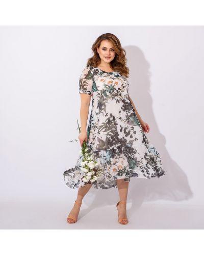 Шифоновое белое платье миди в цветочный принт Miss Podium