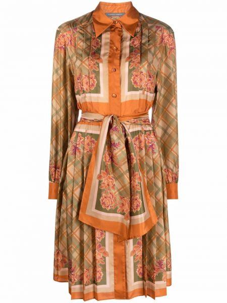 Шелковое платье миди - оранжевое Alberta Ferretti