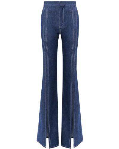 Расклешенные джинсы с вышивкой синие Chloé
